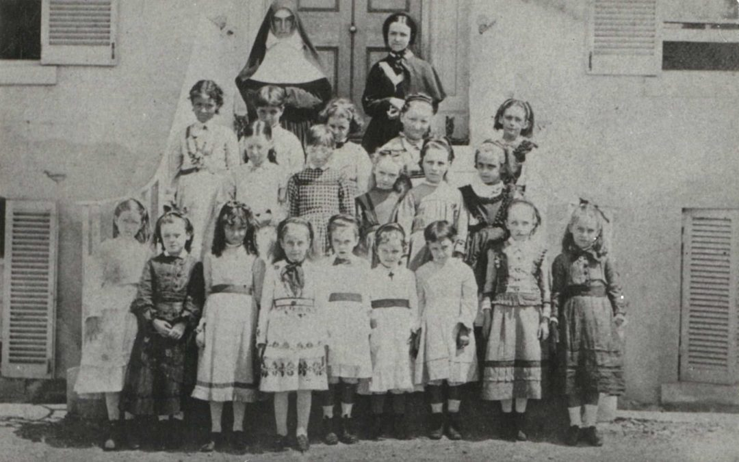 All Hallows' primary school students, Sister Mary Borgia Byrne and Miss Mary Fitzgerald in circa 1870.