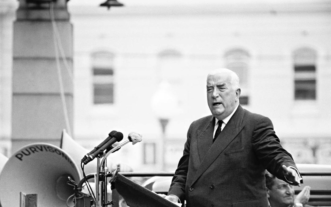 Sir Robert Menzies in Perth during the federal election campaign in 1963.