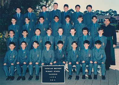Year 5 students at Patrician Brothers Primary School, Fairfield with class teacher Brother Nicholas Harsas, fsp in 1994.