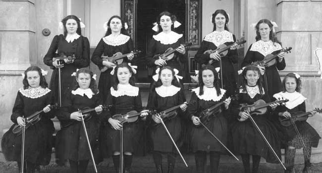 Music students at St Gertrude's College, New Norcia Western Australia in 1914.