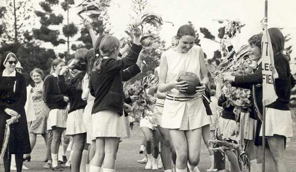 Netball Premiers Cup, Carolyn Ball Captain, St Rita's College Clayfield in 1971