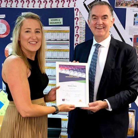 Stefanie Thom received her ighly Accomplished Lead Teacher in 2020 from Danny Casey Director of Schools, Catholic Schools Broken Bay