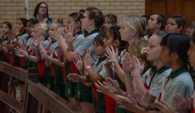 Holy Cross Primary School Trinity Park students at the National Mass held at Saint Monica's Cathedral Cairns QLD
