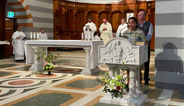 Student reader at National Mass held at St Francis Xavier Cathedral Diocese of Geraldton WA