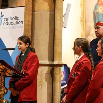 Student readers at St Francis Xavier's Cathedral Adelaide celebrating a National Mass. Source Catholic Education South Australia.