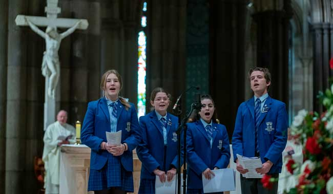 Loyola College Watsonia sing at the National Mass held at St Patrick's Cathedral Melbourne VIC