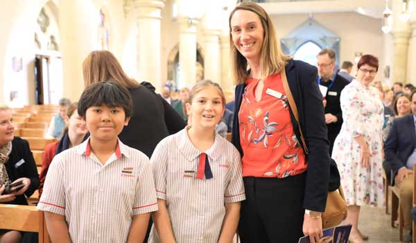 St Benedict's Catholic Primary Mango Hill students at St Stephen's Cathedral, Archdiocese of Brisbane, QLD.