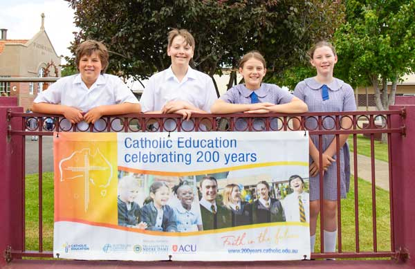 Year 6 students Archie, Noah, Kate and Zoe from St John's Catholic College Richmond. Source: Mark Franklin, Archdiocese of Hobart.