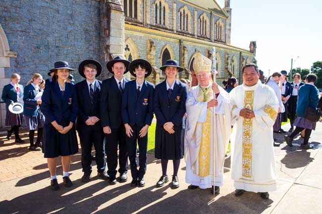 St Joseph College students and Bishop Robert McGuckin at St Patrick's Cathedral, Toowoomba, QLD.