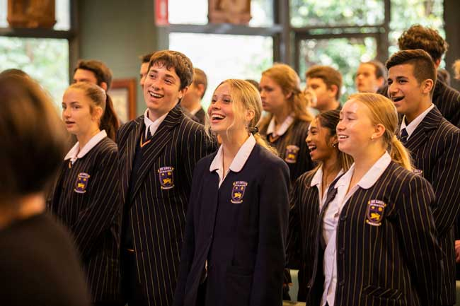 St Leo's Catholic College Wahroonga students at Our Lady of the Rosary Cathedral Waitara Diocese of Broken Bay