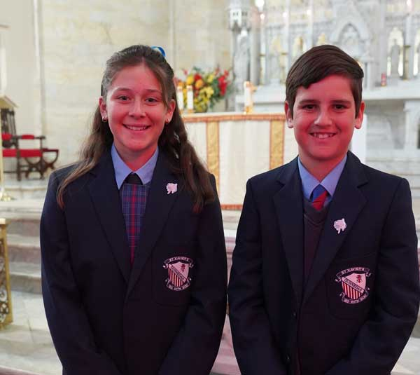St Xavier's Gunnedah students wearing their 200 years lapel pins at the National Mass at St Mary & Joseph's Cathedral Diocese of Armidale, NSW.