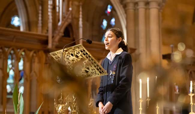Sophia Kouknas, student at Domremy College Five Dock, at St Mary's Cathedral Sydney NSW