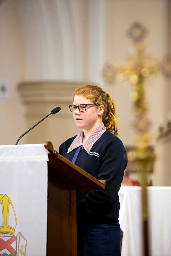 Student from St Mary MacKillop Catholic College at St Patrick's Cathedral Toowoomba QLD