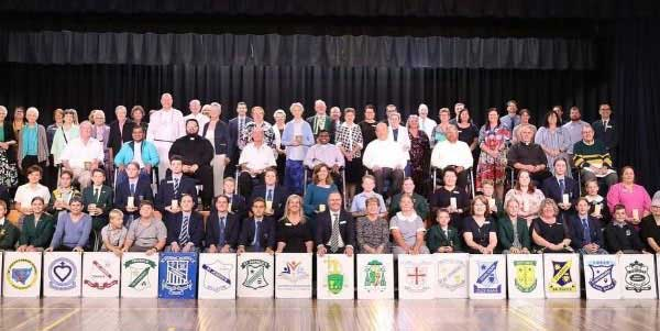 Parish Primary Schools and Red Bend Catholic College students, staff, parish priests and other guests at the bicentenary celebrations. Source: Catholic Education Wilcannia-Forbes
